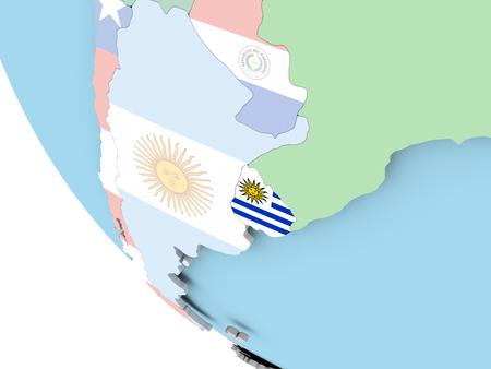 bandera de uruguay: Uruguay on bright political globe with embedded flag. 3D illustration. Foto de archivo