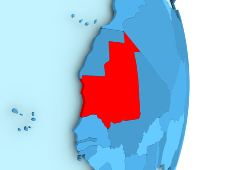 Mauritania in red on simple blue political globe with visible country borders. 3D illustration. Stock Photo