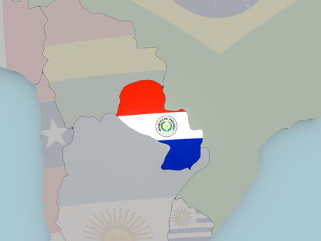 Paraguay with national flag on political globe. 3D illustration.