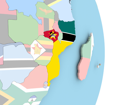 Mozambique with embedded flag on globe. 3D illustration.