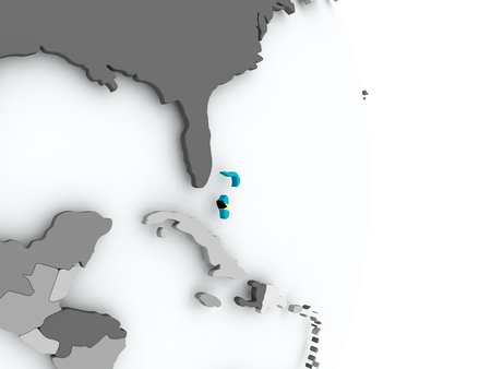 Bahamas on political globe with embedded flag. 3D illustration.