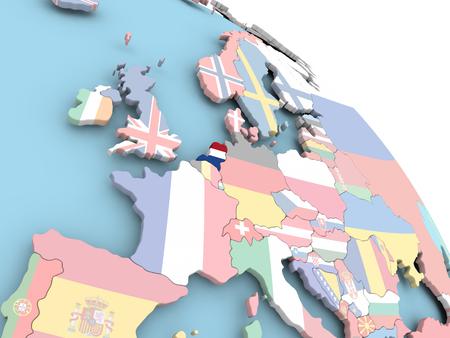 3D render van Nederland met vlag op heldere wereld. 3D illustratie.
