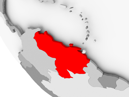 Venezuela in red on simple grey political globe with visible country borders. 3D illustration.