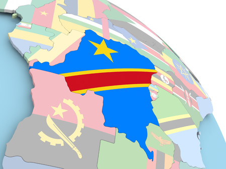 3D render of Democratic Republic of Congo with flag on bright globe. 3D illustration.