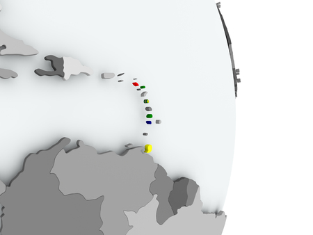 Caribbean on political globe with embedded flag. 3D illustration. Stock Photo