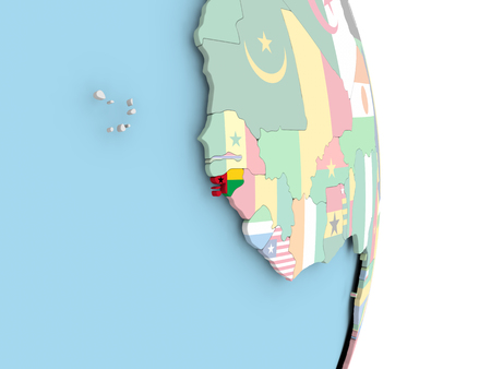 Guinea-Bissau with embedded flag on globe. 3D illustration. Stock Photo