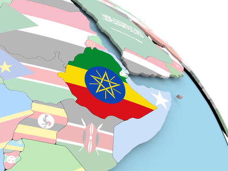 3D render of Ethiopia with flag on bright globe. 3D illustration. Stock Photo
