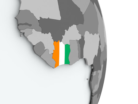 Ivory Coast on political globe with embedded flag. 3D illustration.
