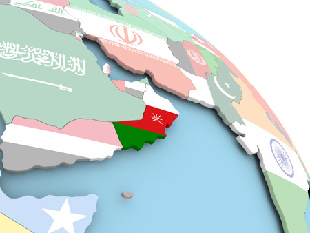 3D render of Oman with flag on bright globe. 3D illustration.