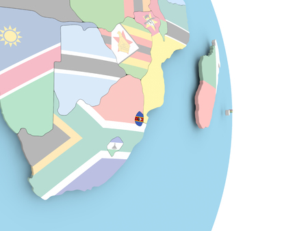 Swaziland with embedded flag on globe. 3D illustration.