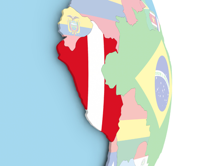 Peru with embedded flag on globe. 3D illustration. Stock Photo