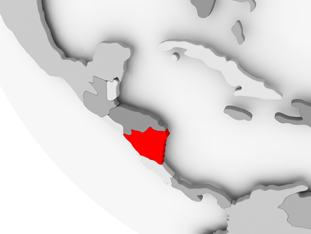 nicaragua: Nicaragua in red on simple grey political globe with visible country borders. 3D illustration.