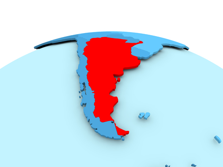 Map of Argentina in red on blue political globe. 3D illustration. Stock Photo