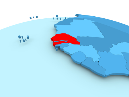 Map of Senegal in red on blue political globe. 3D illustration.