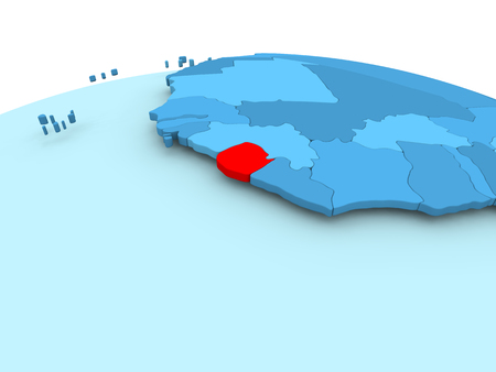 Map of Sierra Leone in red on blue political globe. 3D illustration. Stock Photo
