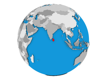 Sri Lanka highlighted in red on political globe. 3D illustration isolated on white background. Stock Photo