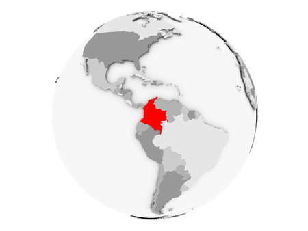 Colombia highlighted in red on grey political globe. 3D illustration isolated on white background.
