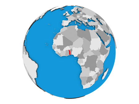 Togo highlighted in red on political globe. 3D illustration isolated on white background. Stock Photo