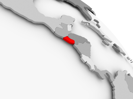 3D render of El Salvador in red on grey political globe. 3D illustration.