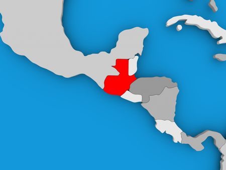 Guatemala in red on political map. 3D illustration. Stock Photo