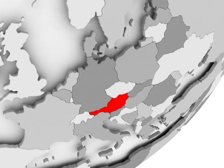 灰色の世界の赤で強調表示されているオーストリアのイラスト。3 D イラスト。