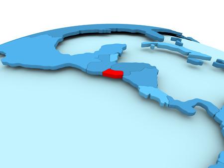 Map of El Salvador in red on blue political globe. 3D illustration.