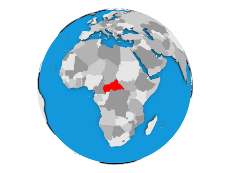 Central Africa highlighted in red on political globe. 3D illustration isolated on white background.