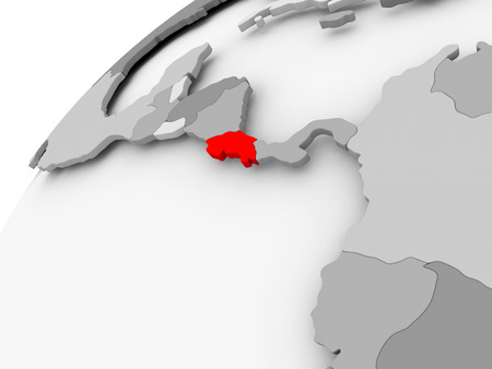 Map of Costa Rica in red on grey political globe. 3D illustration.