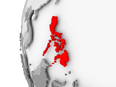 Philippines highlighted on grey 3D model of political globe. 3D illustration. Stock Photo