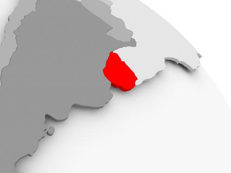 3D render of Uruguay in red on grey political globe. 3D illustration. Imagens