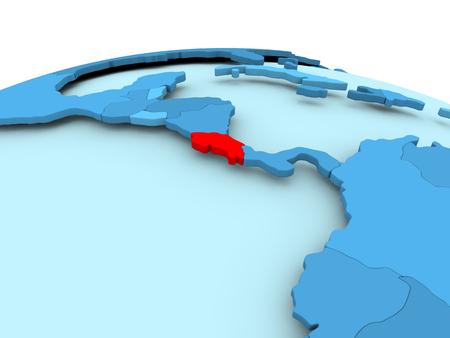 Map of Costa Rica in red on blue political globe. 3D illustration. 版權商用圖片