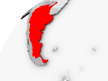 Map of Argentina in red on grey political globe. 3D illustration.