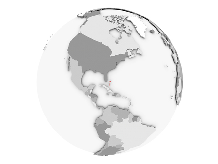 Bahamas highlighted in red on grey political globe. 3D illustration isolated on white background.