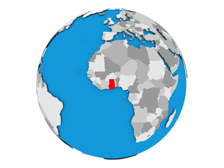Ghana highlighted in red on political globe. 3D illustration isolated on white background.