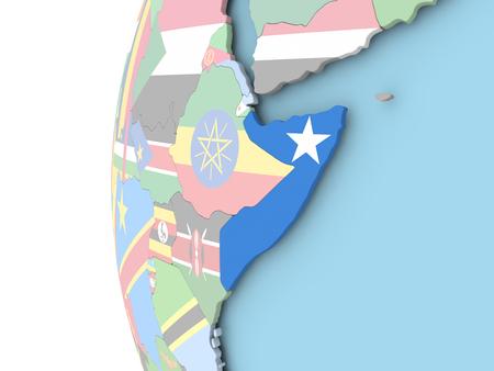 Somalia on political globe with flag. 3D illustration.