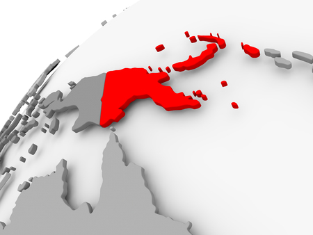 Map of Papua New Guinea in red on grey political globe. 3D illustration.