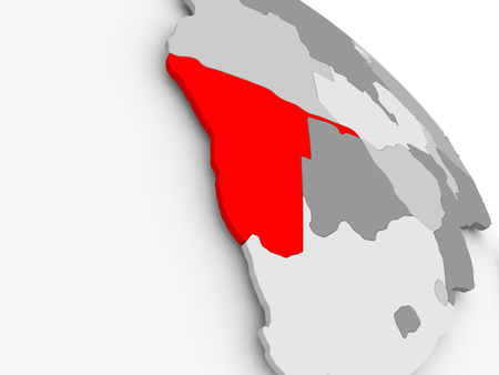 3D render of Namibia in red on grey political globe. 3D illustration. Фото со стока