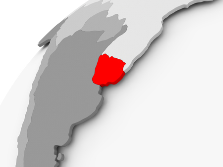 Map of Uruguay in red on grey political globe. 3D illustration. Imagens