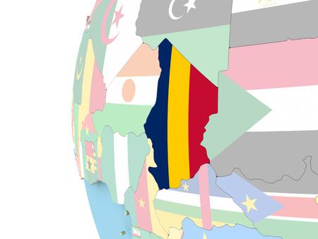 Tsjaad op politieke wereldbol met vlag. 3D illustratie. Stockfoto