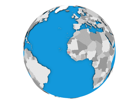 gambia: Gambia highlighted in red on political globe. 3D illustration isolated on white background.