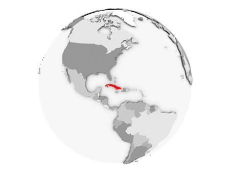 キューバは灰色の政治世界の赤で強調表示されます。3 D の図は、白い背景で隔離。 写真素材 - 88481904