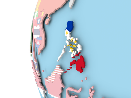 Philippines on political globe with flag. 3D illustration.