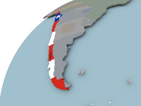 bandera chilena: Chile en el mundo político con banderas incrustadas. Ilustración 3D.