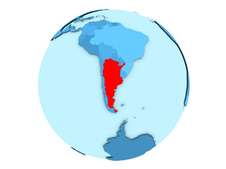 Argentina highlighted in red on blue political globe. 3D illustration isolated on white background.