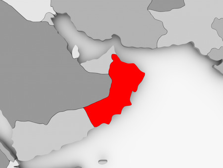 Oman in red on grey political map. 3D illustration.