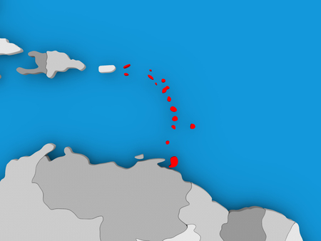 Caribbean in red on political map. 3D illustration. Stock Photo