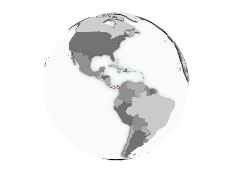 embedded: Panama on political globe with embedded flags. 3D illustration isolated on white background.