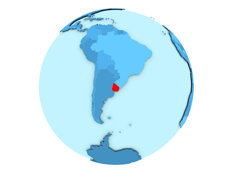 Uruguay highlighted in red on blue political globe. 3D illustration isolated on white background.