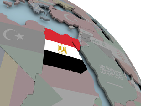 Illustration of Egypt on political globe with embedded flags. 3D illustration.