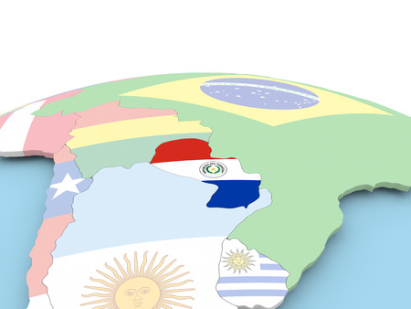 Paraguay on political globe with embedded flags. 3D illustration.